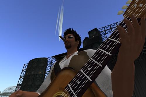 Mr. Volare, cioè io, prova la chitarra in attesa del concerto