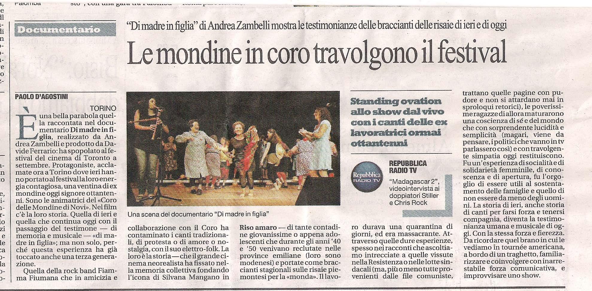 """""""Di madre in figlia"""" su Repubblica - 27 novembre 2008"""