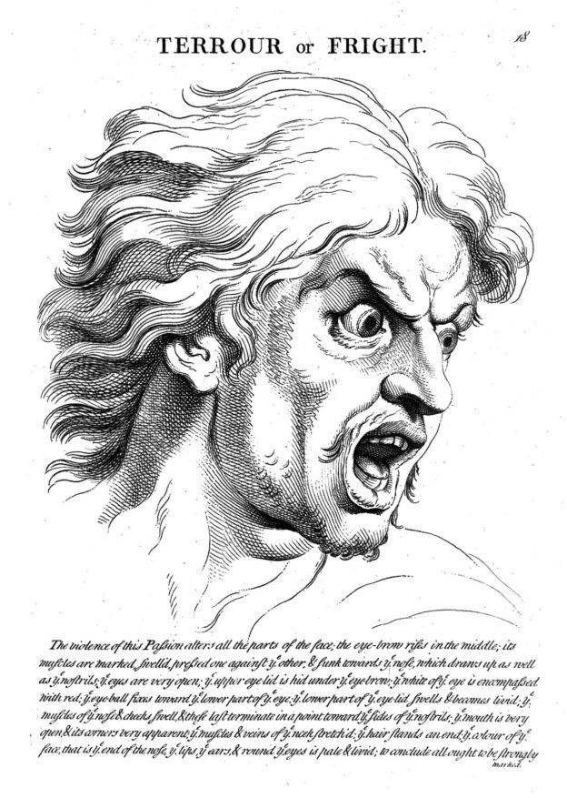 """Terrour with fright"""" from le Brun,. Credit: Wellcome Collection. CC BY"""